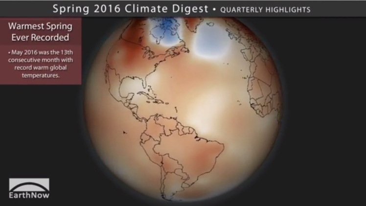 globally 2016 warmest spring recorded